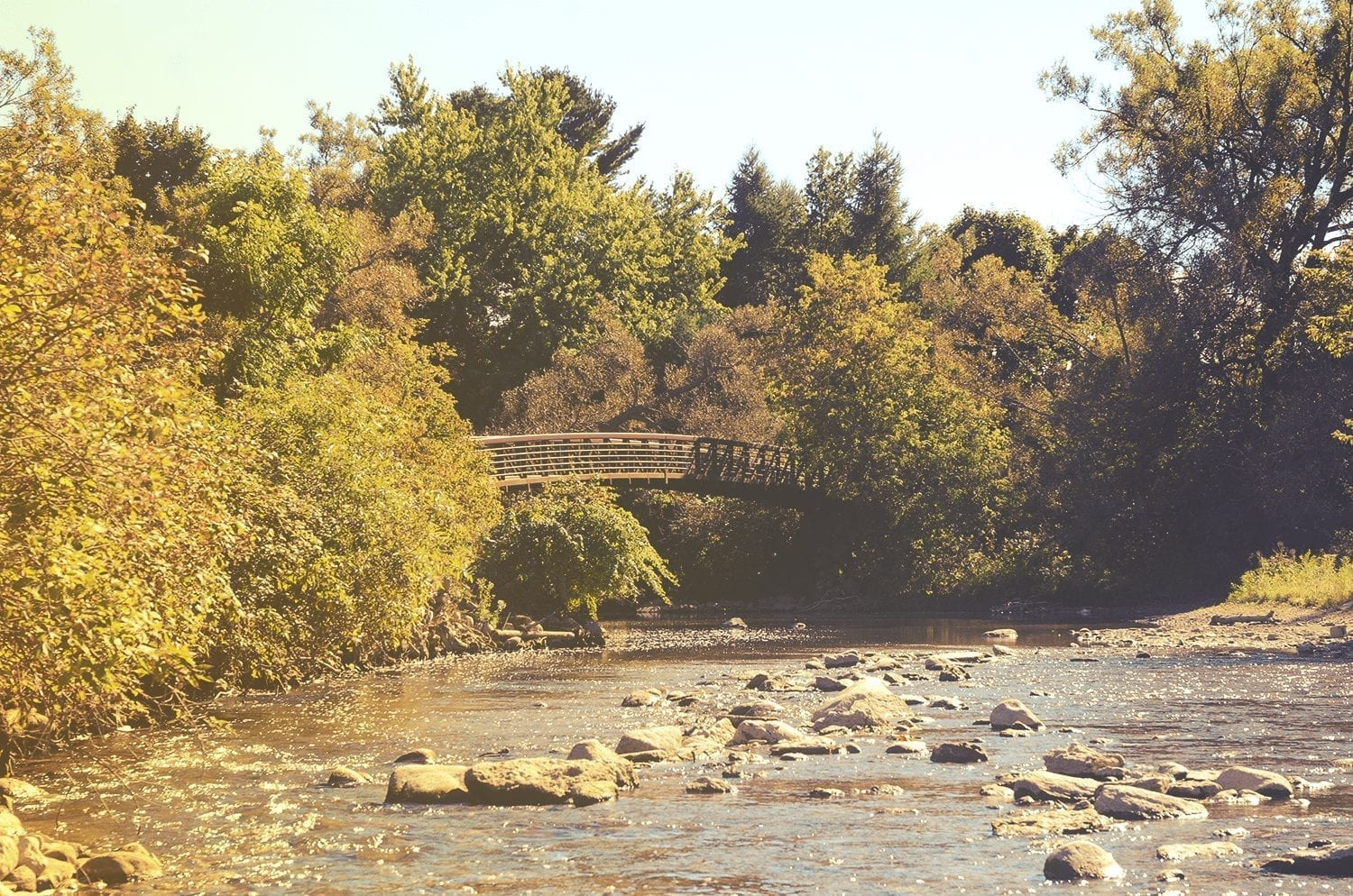 Foot bridge over a river