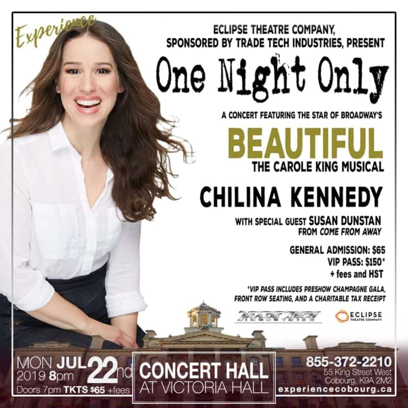 July, concert hall victoria hall, experience cobourg, cobourg concerts, one night only, chilina kennedy, susan dunstan cobourg tourism