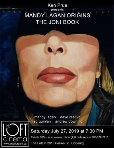 mandy lagan, the joni book, concert hall at victoria hall, the loft, loft cinema, ken prue, concert, poster
