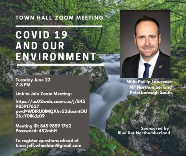 poster for town hall zoom meeting regarding covid-19 and  our environment