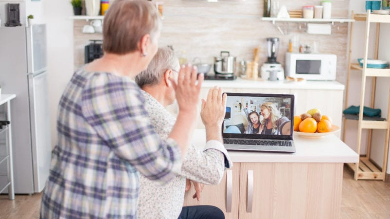 family members connecting virtually